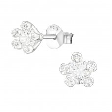 Flower - 925 Sterling Silver Ear Studs with Zirconia stones A4S36789