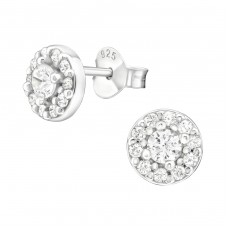 Round - 925 Sterling Silver Ear Studs with Zirconia stones A4S36790
