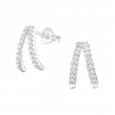 Geometric - 925 Sterling Silver Ear Studs with Zirconia stones A4S36792