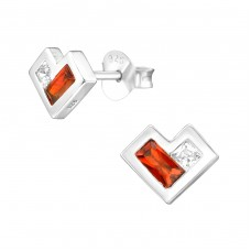 Heart - 925 Sterling Silver Ear Studs with Zirconia stones A4S36793