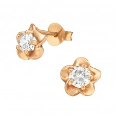 Flower - 925 Sterling Silver Ear Studs with Zirconia stones A4S36796