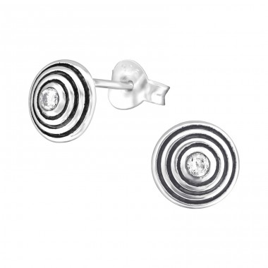Round - 925 Sterling Silver Ear Studs with Zirconia stones A4S36797