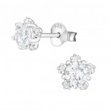Flower - 925 Sterling Silver Ear Studs with Zirconia stones A4S36799