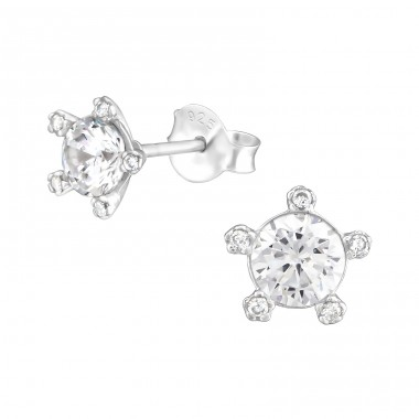 Flower - 925 Sterling Silver Ear Studs with Zirconia stones A4S36800