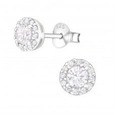 Sparkling - 925 Sterling Silver Ear Studs with Zirconia stones A4S36801