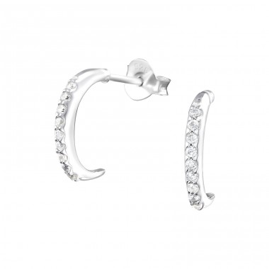 Half Hoop - 925 Sterling Silver Ear Studs with Zirconia stones A4S36802