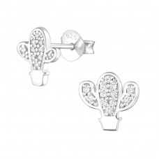 Cactus - 925 Sterling Silver Ear Studs with Zirconia stones A4S36803