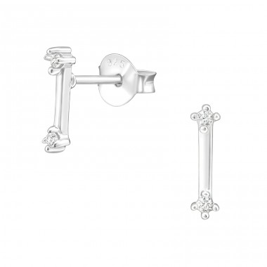 Bar - 925 Sterling Silver Ear Studs with Zirconia stones A4S36805