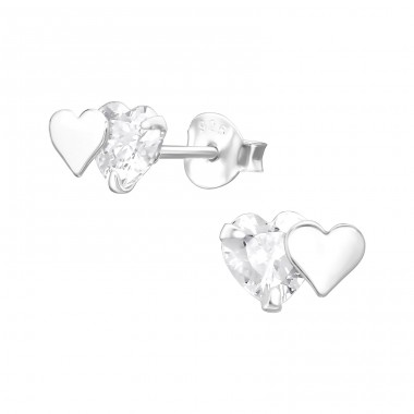 Double Heart - 925 Sterling Silver Ear Studs with Zirconia stones A4S37007