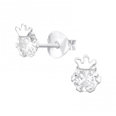 Crown - 925 Sterling Silver Ear Studs with Zirconia stones A4S37009