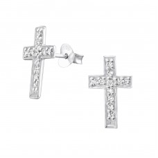 Cross - 925 Sterling Silver Ear Studs with Zirconia stones A4S3705