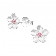 Flower - 925 Sterling Silver Ear Studs with Zirconia stones A4S3706