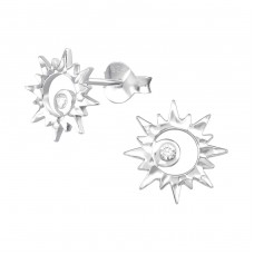 Sun - 925 Sterling Silver Ear Studs with Zirconia stones A4S37193