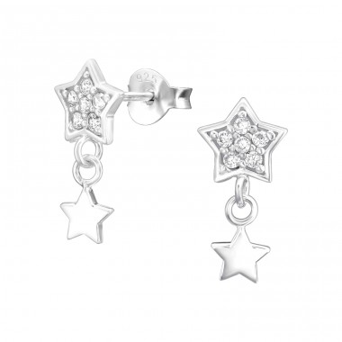 Star - 925 Sterling Silver Ear Studs with Zirconia stones A4S37196