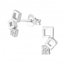 Geometric - 925 Sterling Silver Ear Studs with Zirconia stones A4S37197