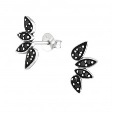 Oxidized - 925 Sterling Silver Ear Studs with Zirconia stones A4S37213