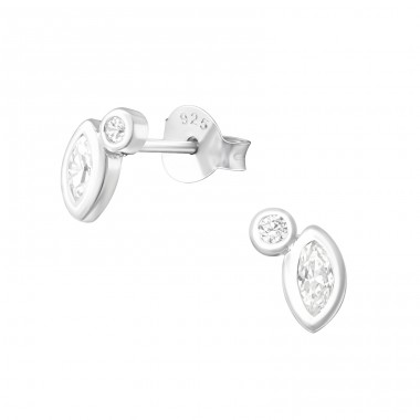 Geometric - 925 Sterling Silver Ear Studs with Zirconia stones A4S37258