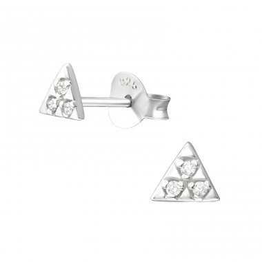Triangle - 925 Sterling Silver Ear Studs with Zirconia stones A4S37338