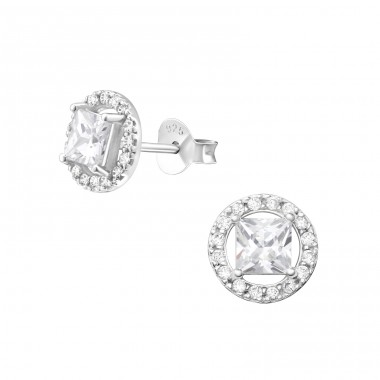 Geometric - 925 Sterling Silver Ear Studs with Zirconia stones A4S37531