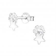Star - 925 Sterling Silver Ear Studs with Zirconia stones A4S37583