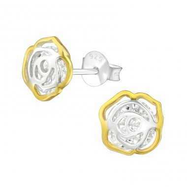 Flower - 925 Sterling Silver Ear Studs with Zirconia stones A4S37584