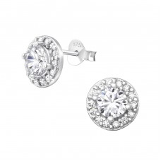 Sparkling - 925 Sterling Silver Ear Studs with Zirconia stones A4S37585