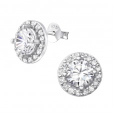 Sparkling - 925 Sterling Silver Ear Studs with Zirconia stones A4S37586