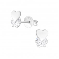 Heart - 925 Sterling Silver Ear Studs with Zirconia stones A4S37666