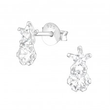 Star - 925 Sterling Silver Ear Studs with Zirconia stones A4S37667
