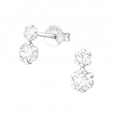 Round - 925 Sterling Silver Ear Studs with Zirconia stones A4S37761