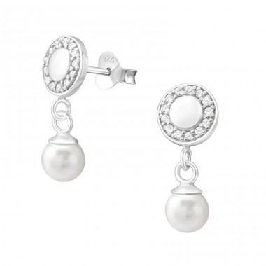 Round - 925 Sterling Silver Ear Studs with Zirconia stones A4S37798