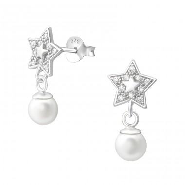 Star - 925 Sterling Silver Ear Studs with Zirconia stones A4S37799