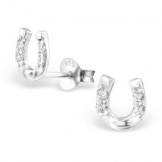 Horseshoe - 925 Sterling Silver Ear Studs with Zirconia stones A4S3780