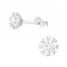 Snowflake - 925 Sterling Silver Ear Studs with Zirconia stones A4S37849