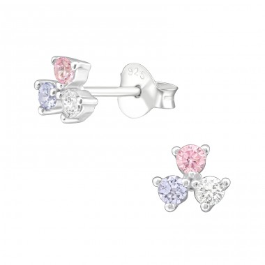 Geometric - 925 Sterling Silver Ear Studs with Zirconia stones A4S37909