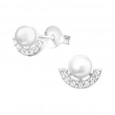 Semi Circle - 925 Sterling Silver Ear Studs with Zirconia stones A4S37912
