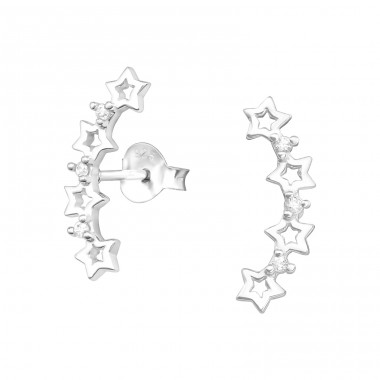 Stars - 925 Sterling Silver Ear Studs with Zirconia stones A4S37913