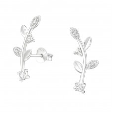 Leaf - 925 Sterling Silver Ear Studs with Zirconia stones A4S37914
