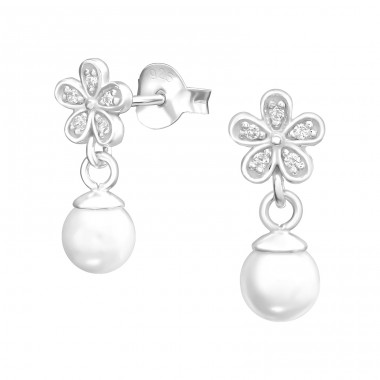 Flower With Hanging Pearl - 925 Sterling Silver Ear Studs with Zirconia stones A4S37915