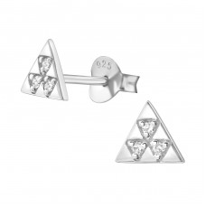 Triangle - 925 Sterling Silver Ear Studs with Zirconia stones A4S37927