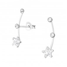 Star - 925 Sterling Silver Ear Studs with Zirconia stones A4S37938