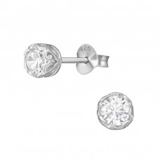 Round - 925 Sterling Silver Ear Studs with Zirconia stones A4S37942