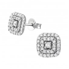Square - 925 Sterling Silver Ear Studs with Zirconia stones A4S38023