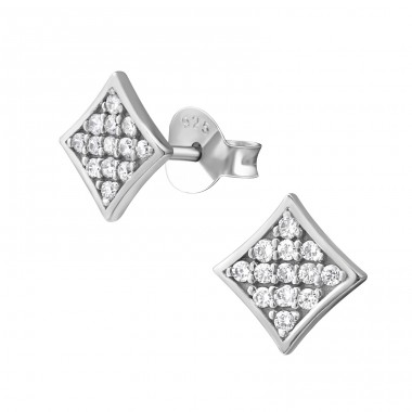 Square - 925 Sterling Silver Ear Studs with Zirconia stones A4S38025