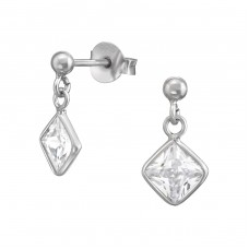 Square - 925 Sterling Silver Ear Studs with Zirconia stones A4S38102