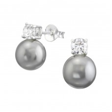 Round - 925 Sterling Silver Ear Studs with Zirconia stones A4S38107