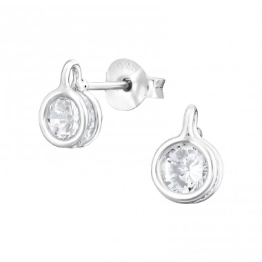Round - 925 Sterling Silver Ear Studs with Zirconia stones A4S38228