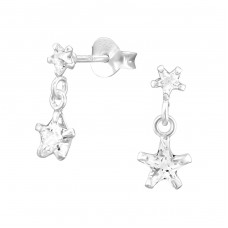 Hanging Star - 925 Sterling Silver Ear Studs with Zirconia stones A4S38305