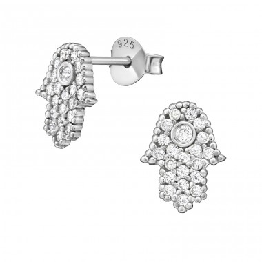 Hamsa - 925 Sterling Silver Ear Studs with Zirconia stones A4S38355