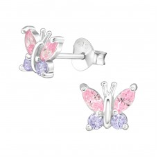 Butterfly - 925 Sterling Silver Ear Studs with Zirconia stones A4S38405